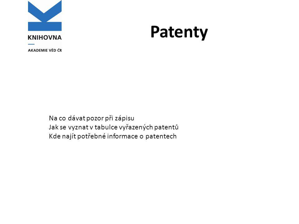 Patenty Na co dávat pozor při zápisu