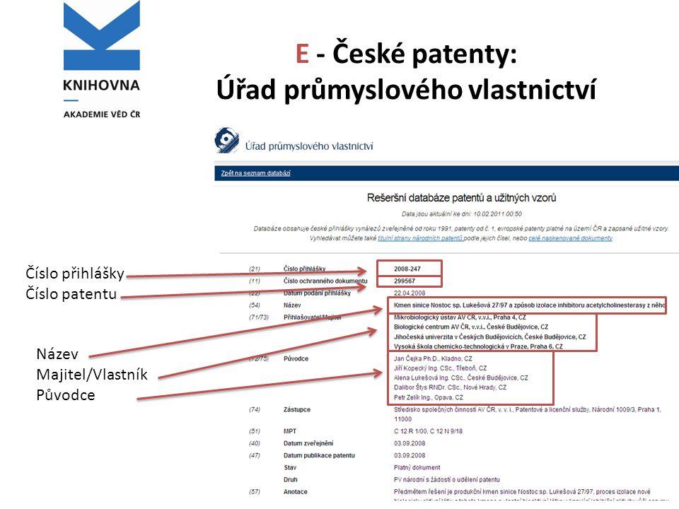 E - České patenty: Úřad průmyslového vlastnictví