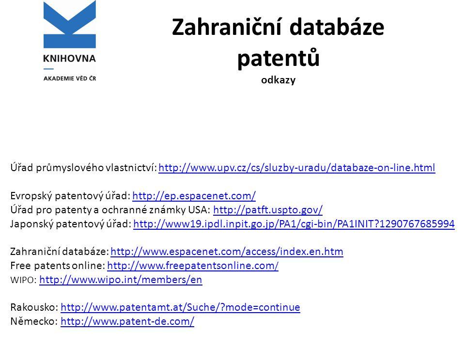 Zahraniční databáze patentů odkazy