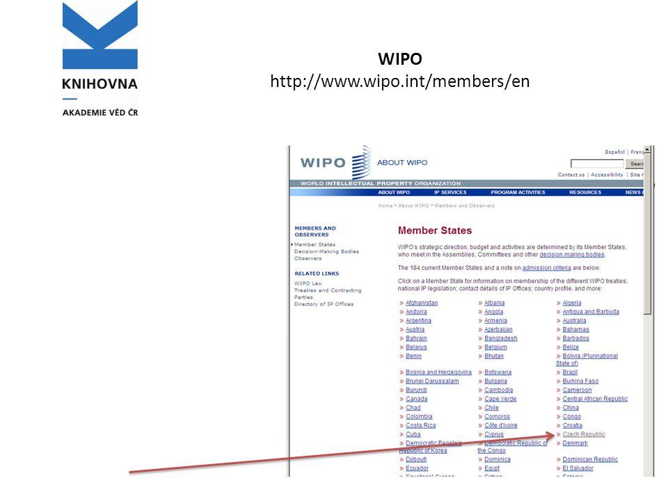 WIPO http://www.wipo.int/members/en