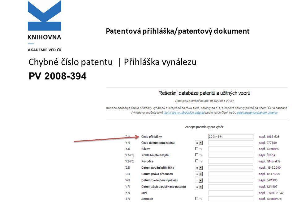 Patentová přihláška/patentový dokument