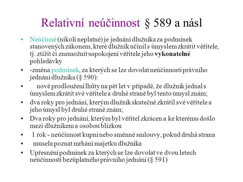 Relativní neúčinnost § 589 a násl