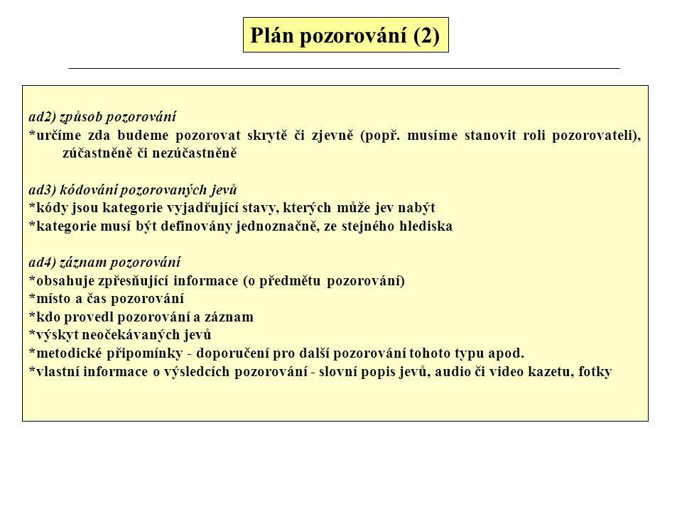 Plán pozorování (2) ad2) způsob pozorování