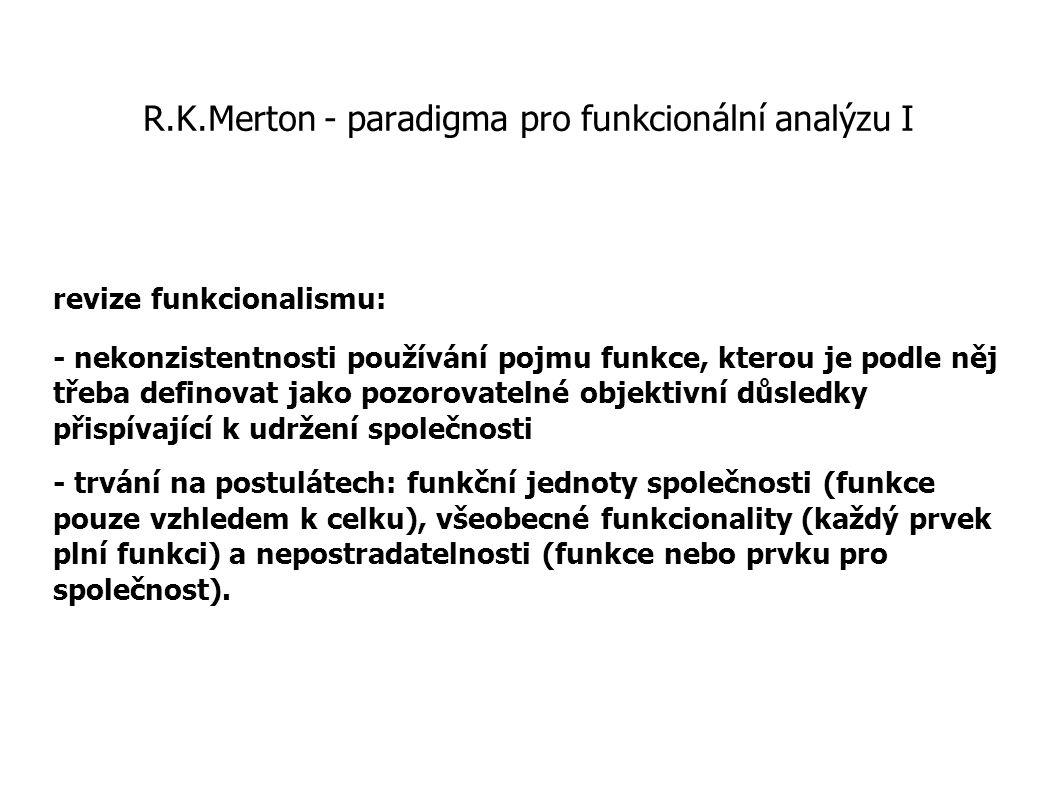 R.K.Merton - paradigma pro funkcionální analýzu I