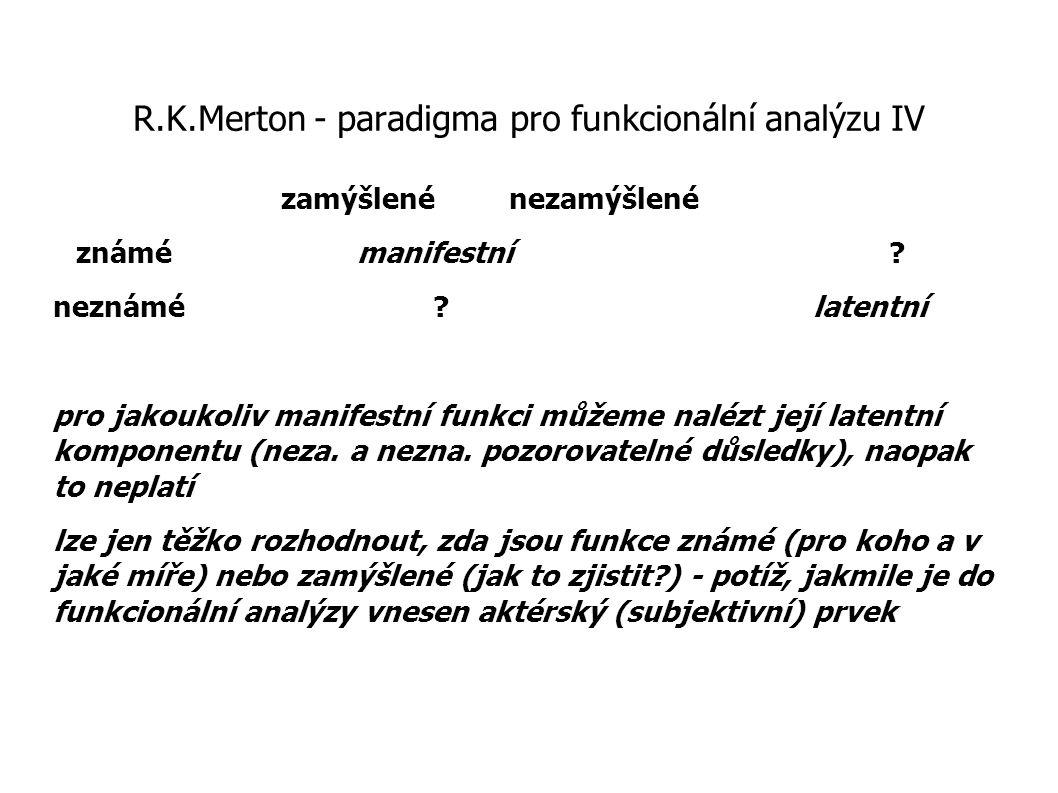R.K.Merton - paradigma pro funkcionální analýzu IV