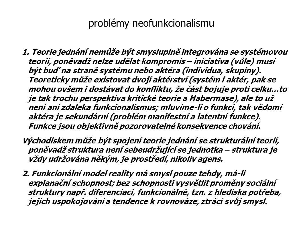 problémy neofunkcionalismu