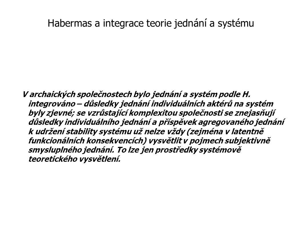 Habermas a integrace teorie jednání a systému
