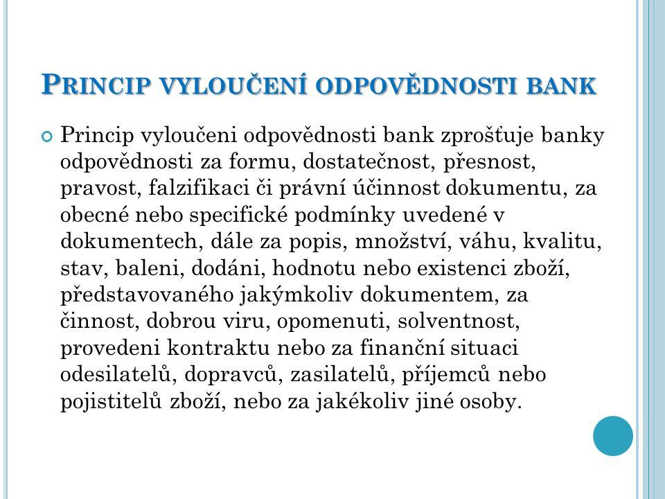 Princip vyloučení odpovědnosti bank