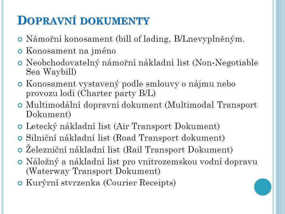 Dopravní dokumenty Námořní konosament (bill of lading, B/Lnevyplněným.