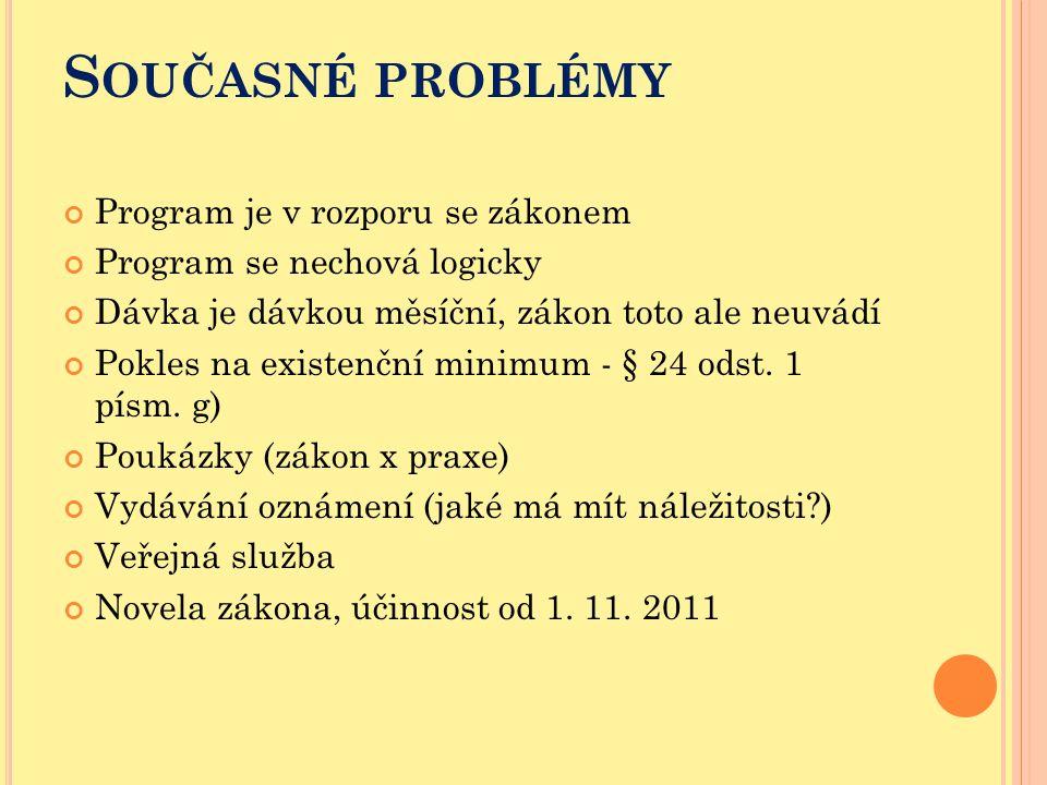 Současné problémy Program je v rozporu se zákonem