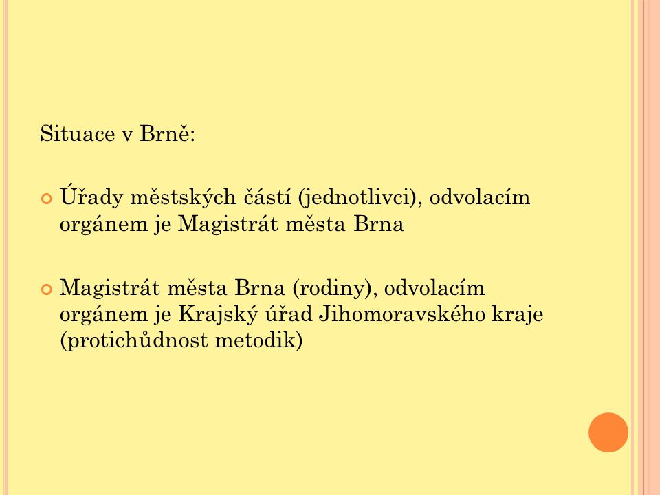 Situace v Brně: Úřady městských částí (jednotlivci), odvolacím orgánem je Magistrát města Brna.