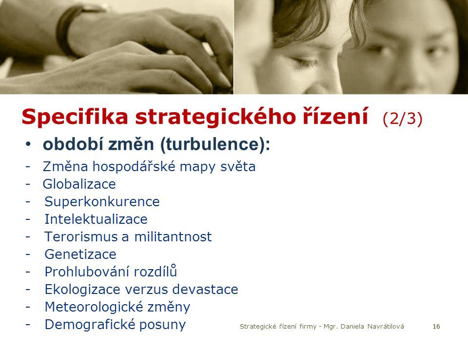 Specifika strategického řízení (2/3)