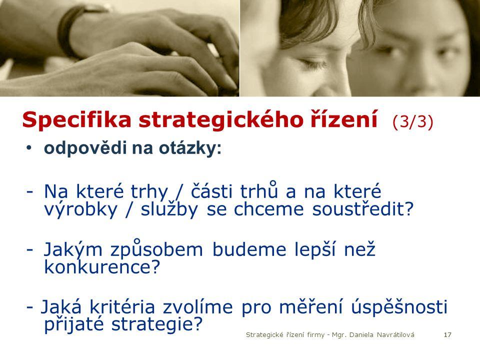 Specifika strategického řízení (3/3)