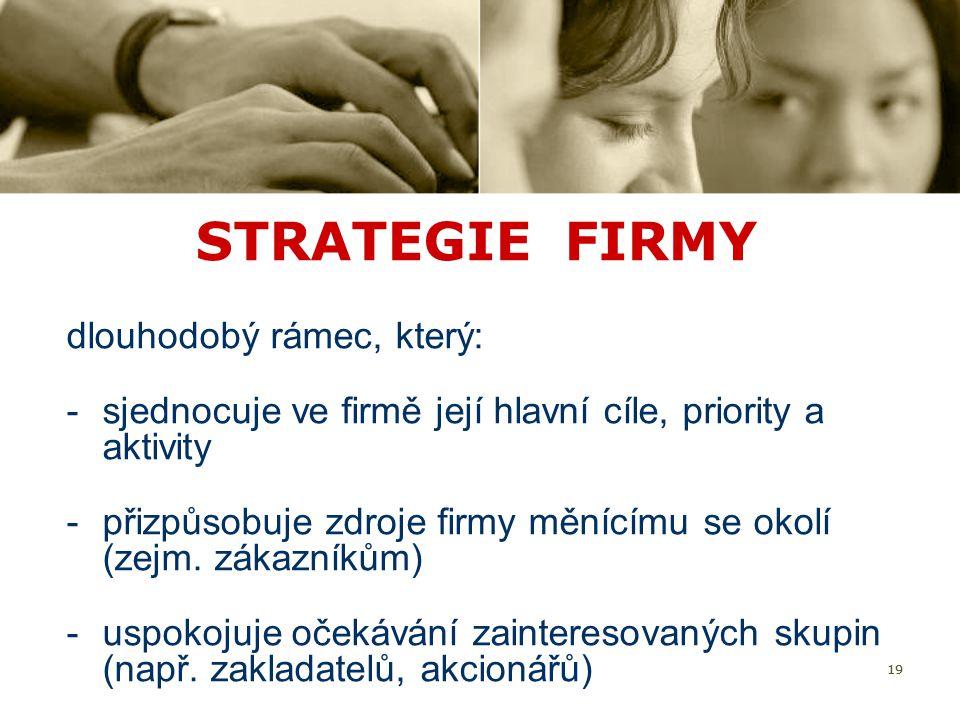 STRATEGIE FIRMY dlouhodobý rámec, který: