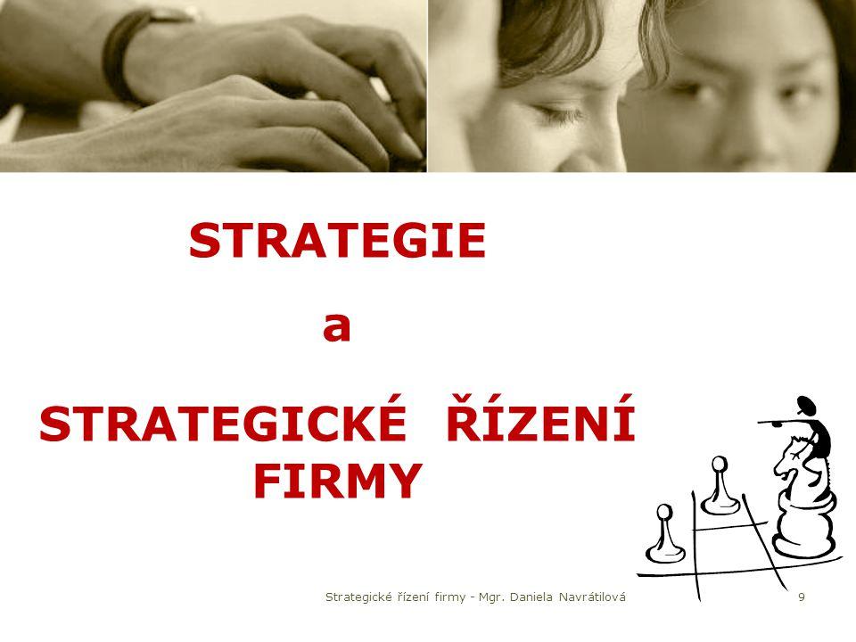 STRATEGIE a STRATEGICKÉ ŘÍZENÍ FIRMY