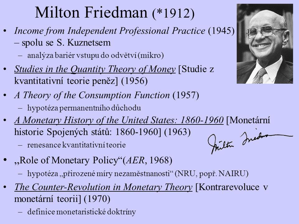 "Milton Friedman (*1912) ""Role of Monetary Policy (AER, 1968)"