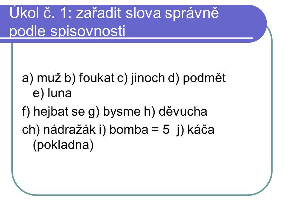 Úkol č. 1: zařadit slova správně podle spisovnosti