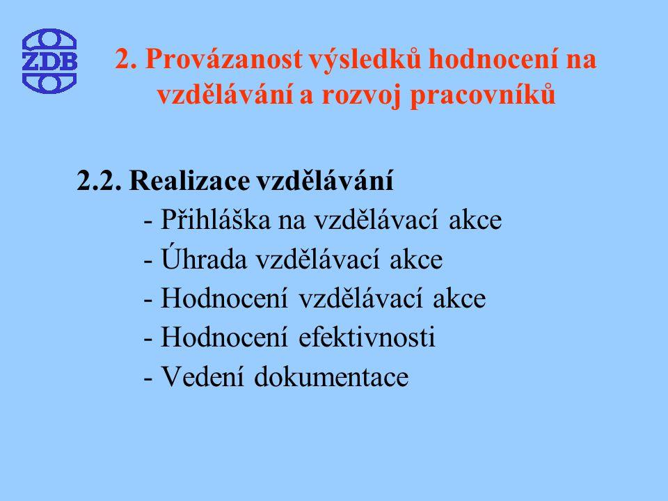 2. Provázanost výsledků hodnocení na vzdělávání a rozvoj pracovníků