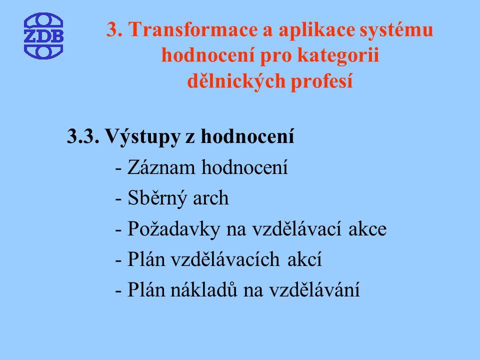3. Transformace a aplikace systému hodnocení pro kategorii dělnických profesí