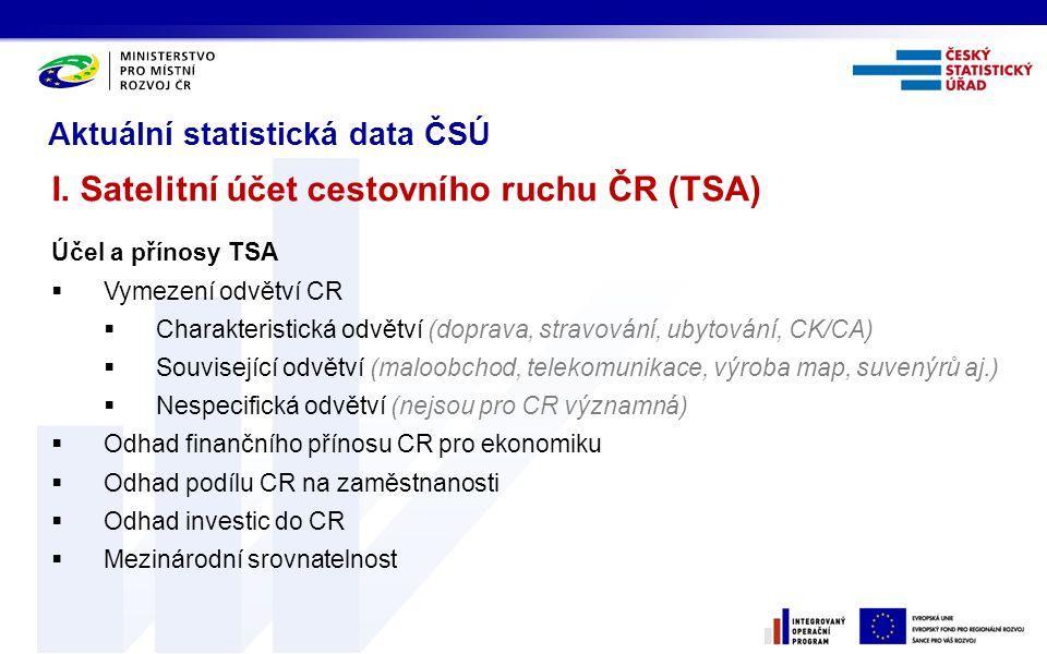 I. Satelitní účet cestovního ruchu ČR (TSA)