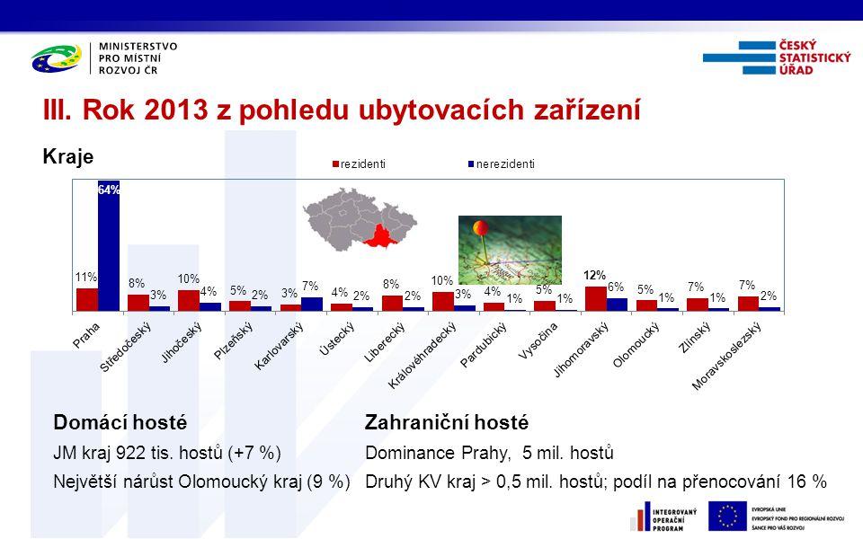 III. Rok 2013 z pohledu ubytovacích zařízení