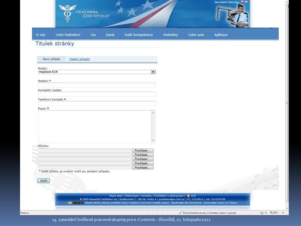 14. zasedání Smíšené pracovní skupiny pro e-Customs – Jíloviště, 21