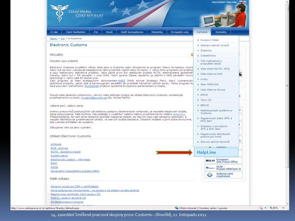HelpLine 14. zasedání Smíšené pracovní skupiny pro e-Customs – Jíloviště, 21. listopadu 2011