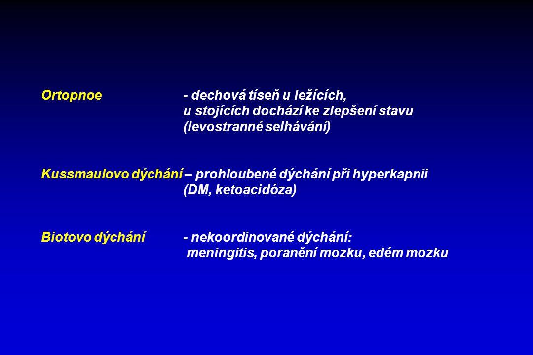 Ortopnoe - dechová tíseň u ležících,