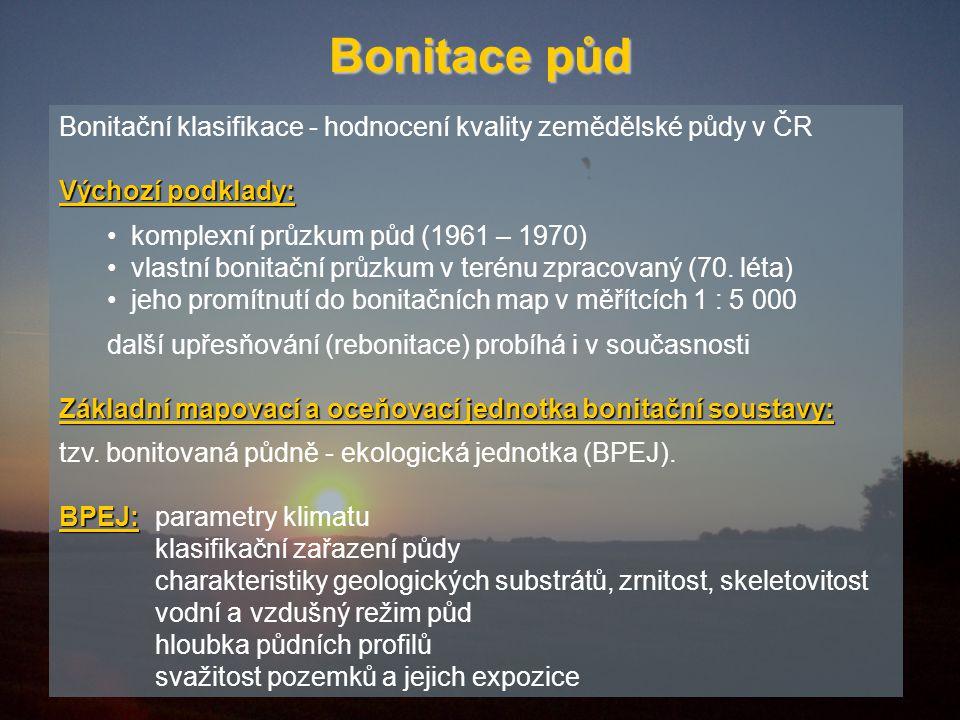 Bonitace půd Bonitační klasifikace - hodnocení kvality zemědělské půdy v ČR. Výchozí podklady: komplexní průzkum půd (1961 – 1970)