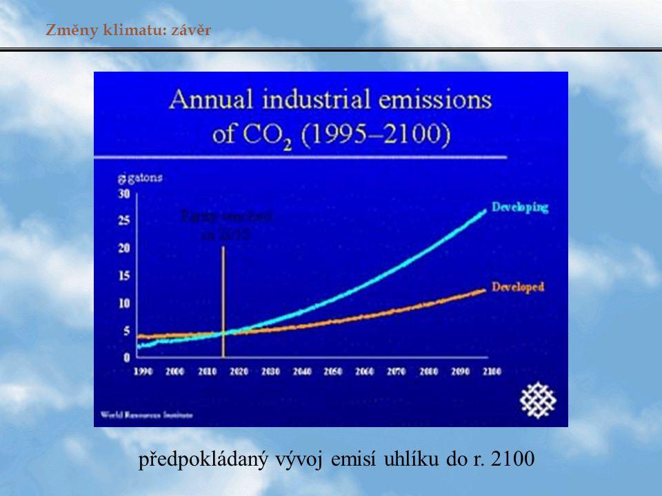 předpokládaný vývoj emisí uhlíku do r. 2100