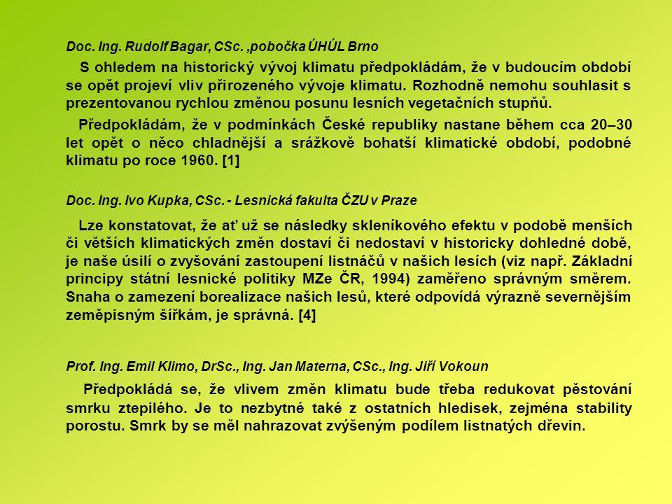 Doc. Ing. Rudolf Bagar, CSc. ,pobočka ÚHÚL Brno