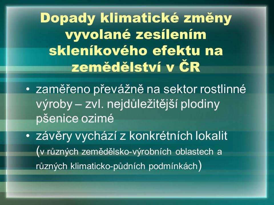 Dopady klimatické změny vyvolané zesílením skleníkového efektu na zemědělství v ČR