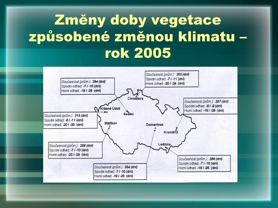 Změny doby vegetace způsobené změnou klimatu – rok 2005