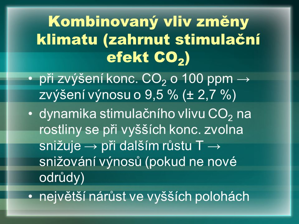 Kombinovaný vliv změny klimatu (zahrnut stimulační efekt CO2)