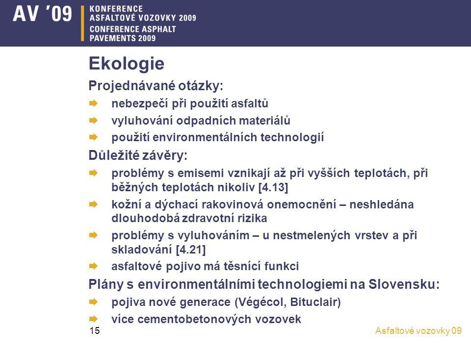 Ekologie Projednávané otázky: Důležité závěry: