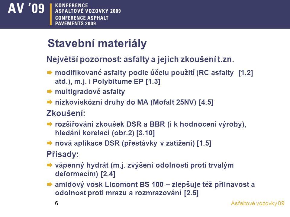 Stavební materiály Největší pozornost: asfalty a jejich zkoušení t.zn.