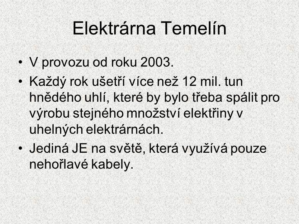 Elektrárna Temelín V provozu od roku 2003.