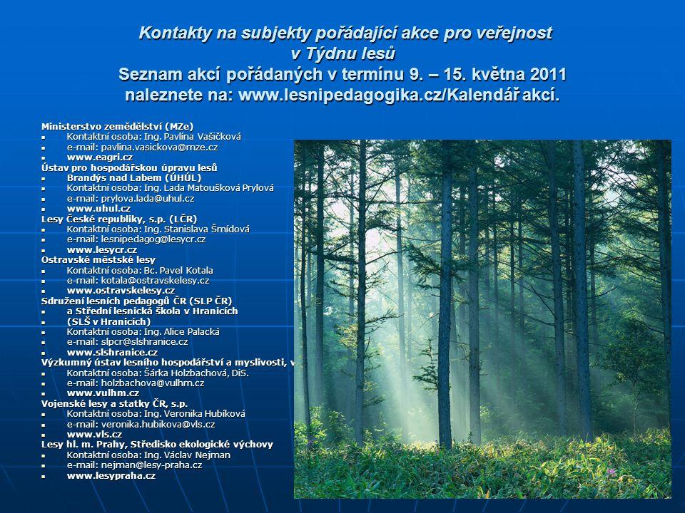 Kontakty na subjekty pořádající akce pro veřejnost v Týdnu lesů Seznam akcí pořádaných v termínu 9. – 15. května 2011 naleznete na: www.lesnipedagogika.cz/Kalendář akcí.