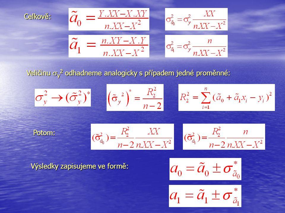 Celkově: Veličinu y2 odhadneme analogicky s případem jedné proměnné: Potom: Výsledky zapisujeme ve formě: