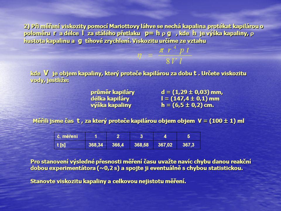 průměr kapiláry d = (1,29 ± 0,03) mm,