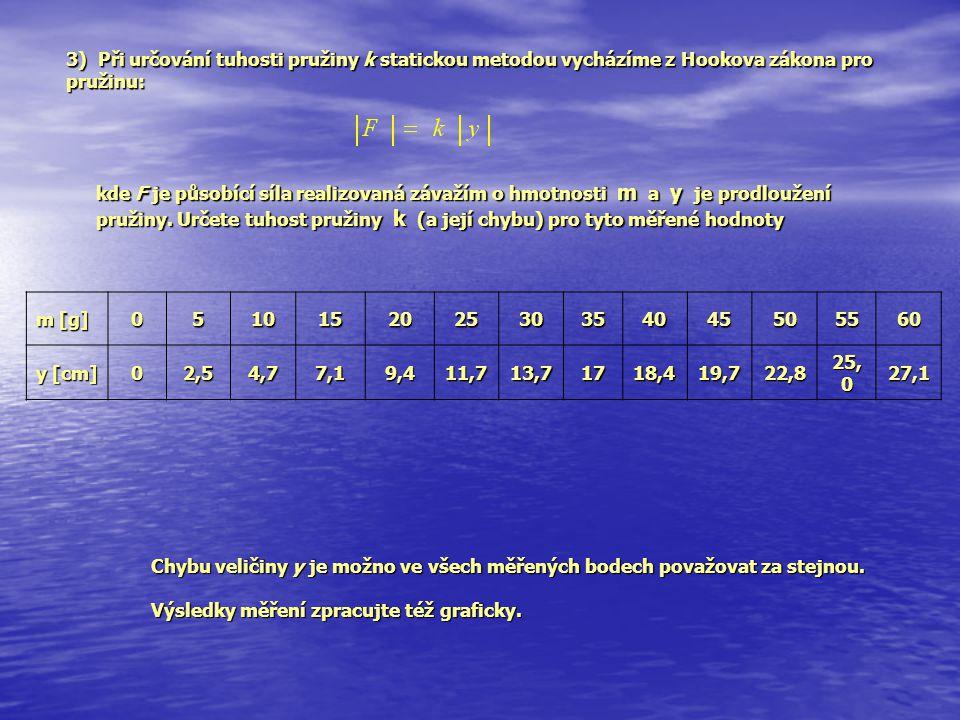 3) Při určování tuhosti pružiny k statickou metodou vycházíme z Hookova zákona pro pružinu: