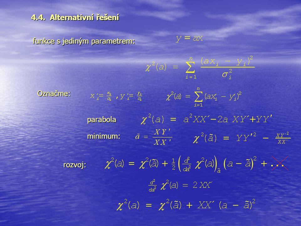 4.4. Alternativní řešení funkce s jediným parametrem: Označme: parabola minimum: rozvoj: