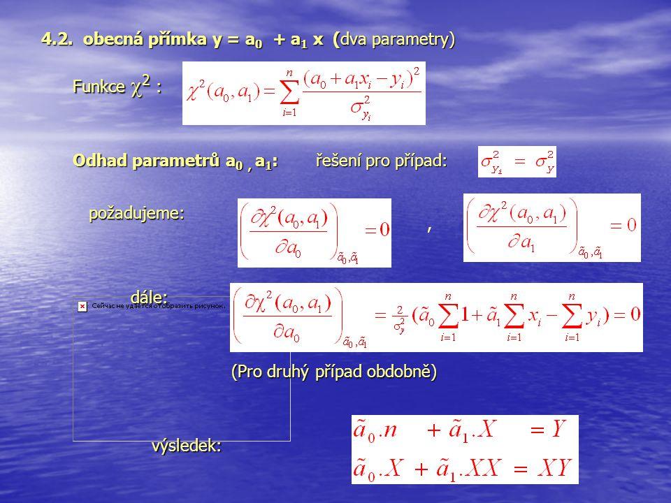 4.2. obecná přímka y = a0 + a1 x (dva parametry)
