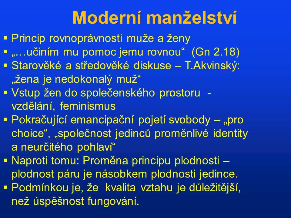 Moderní manželství Princip rovnoprávnosti muže a ženy
