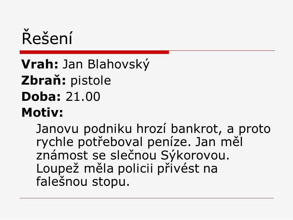 Řešení Vrah: Jan Blahovský Zbraň: pistole Doba: 21.00 Motiv: