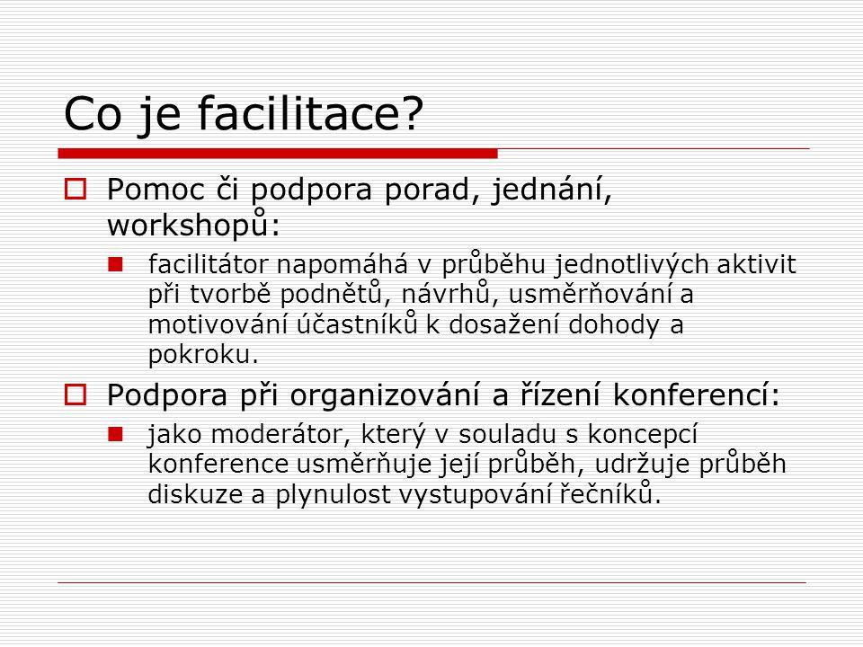 Co je facilitace Pomoc či podpora porad, jednání, workshopů: