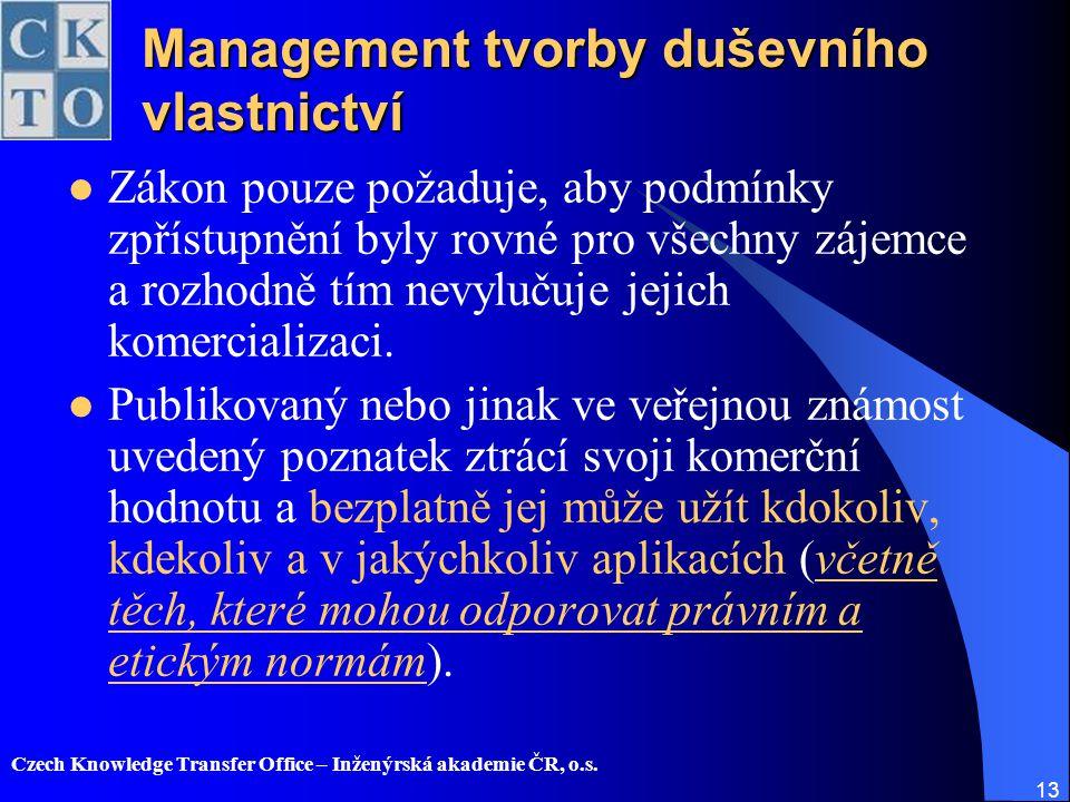 Management tvorby duševního vlastnictví