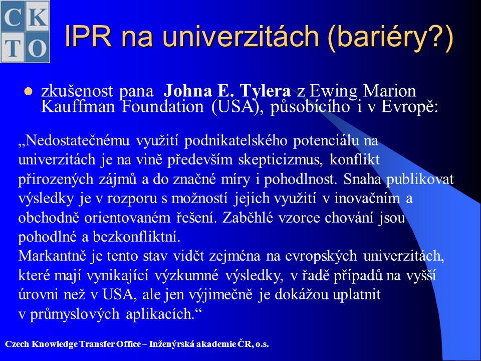 IPR na univerzitách (bariéry )