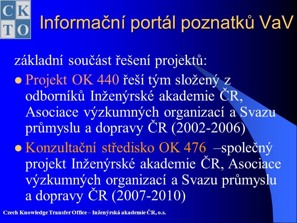 Informační portál poznatků VaV