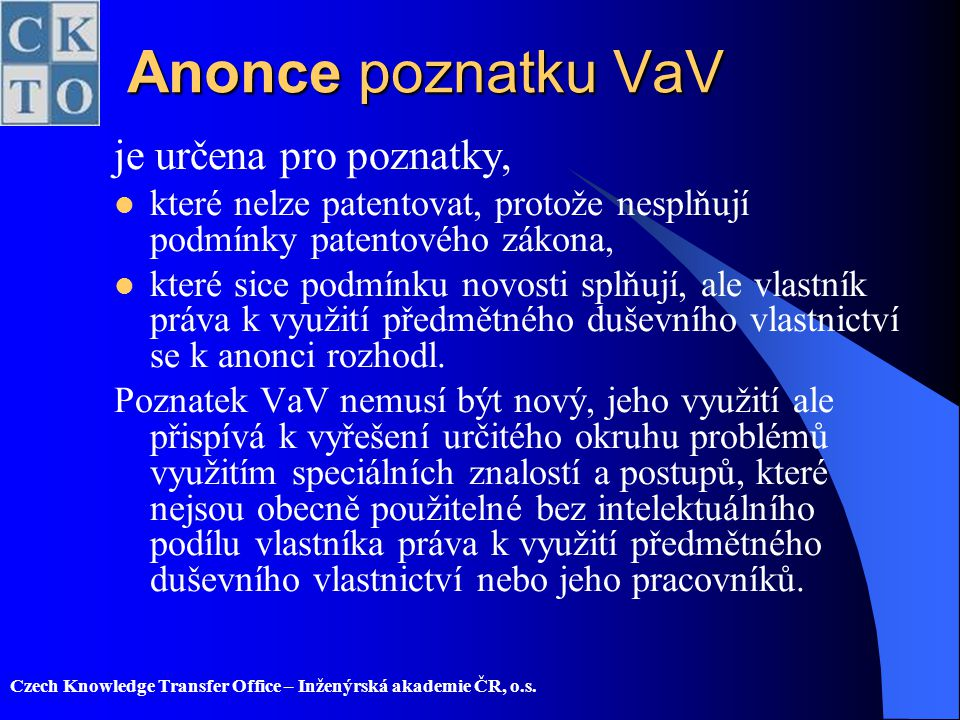 Anonce poznatku VaV je určena pro poznatky,